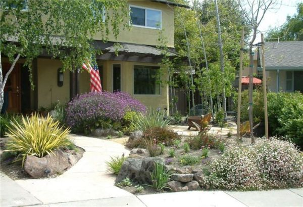 xeriscape front yard with patio