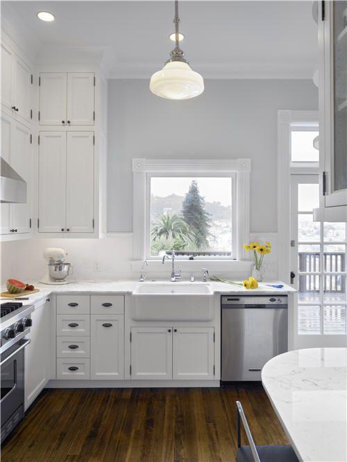 white cabinets kitchen grey walls