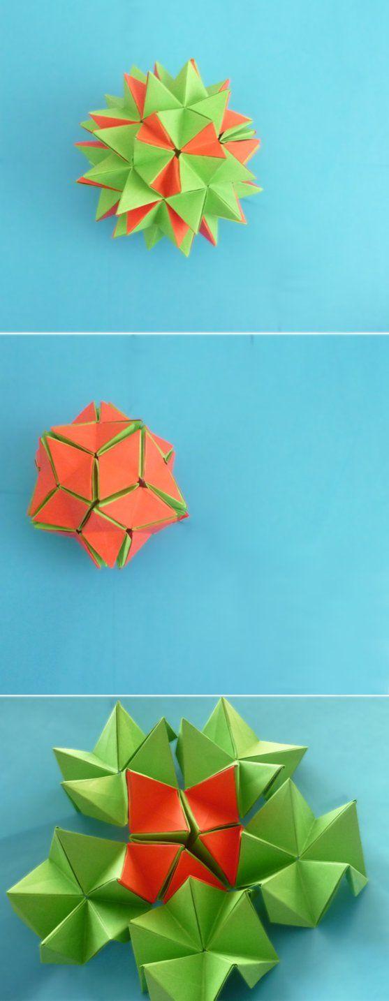 Origami Star Flower Diagram Origami Pinterest