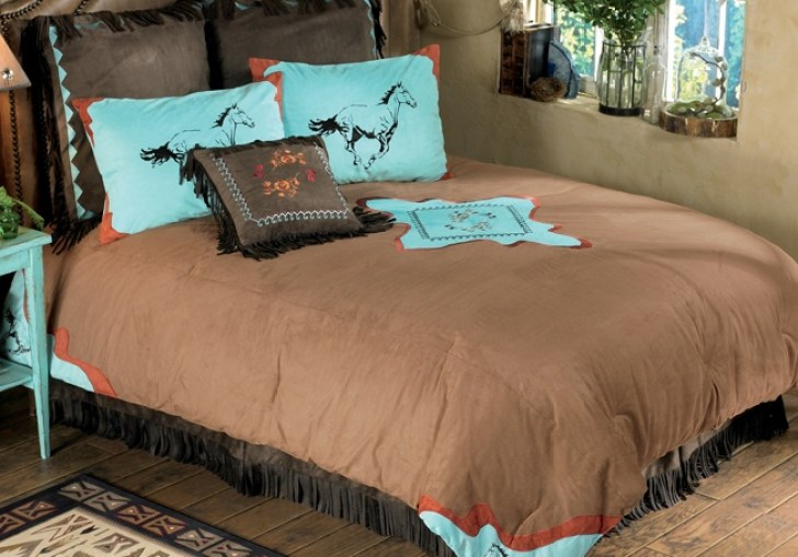 Turquoise And Brown Western Bedroom