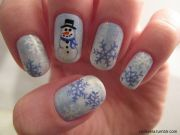 snowman nails - winter christmas