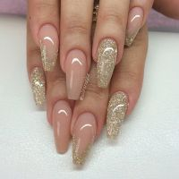 Blush + Gold Glitter Long Coffin Nails #nail #nailart ...