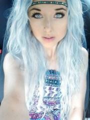 white hair. blue eyes. wavy