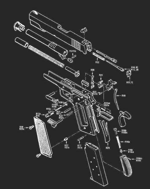 Here Is An Exploded Part Diagram Of The 1911 Frame