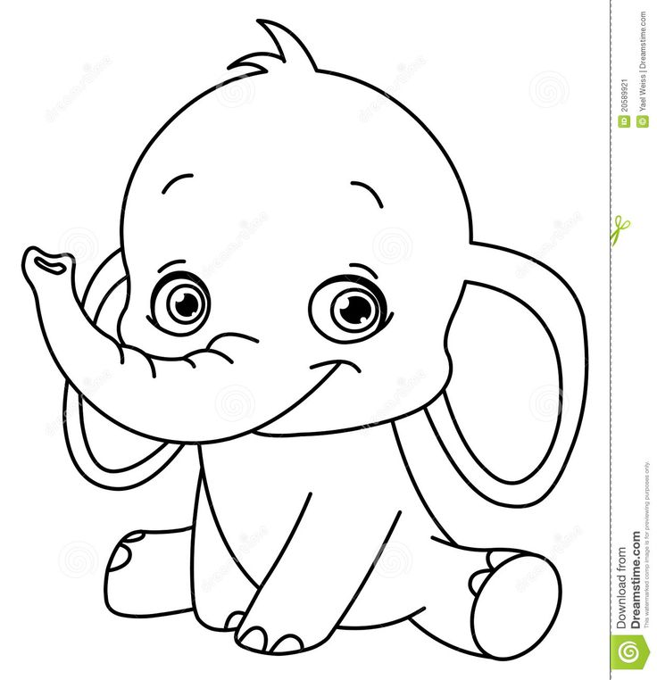 Baby elephant coloring pages to download and print for