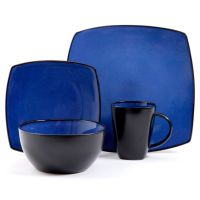 Gibson Bella Soho 16-Piece Square Reactive Glaze ...