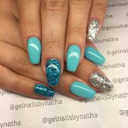 teal and silver glitter gel nails
