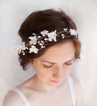Bridal headband flower crown, white flower headband, ivory ...