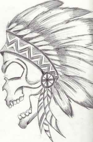 native drawing america drawings easy american skull indian awesome simple skulls pencil feather feathers