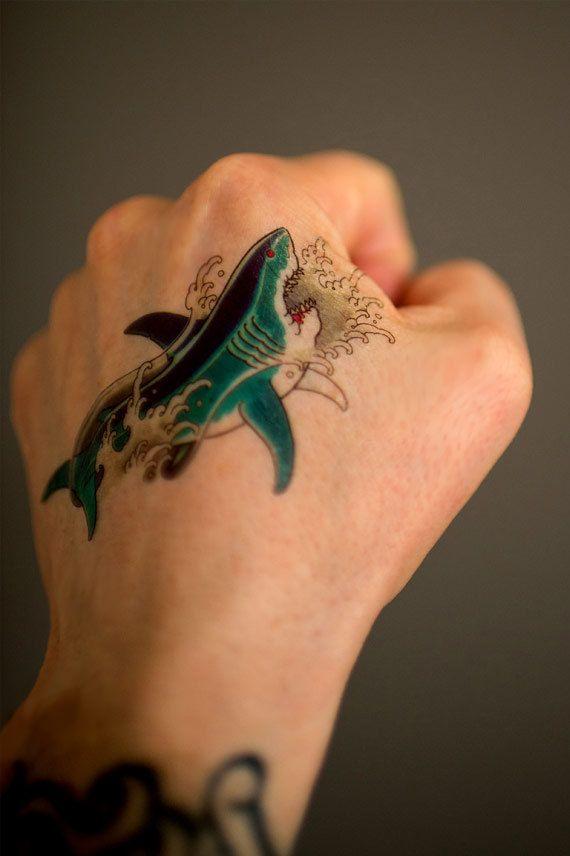 small temporary shark tattoo classic