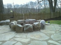Fire pit with flagstone using gator dust joint filler ...