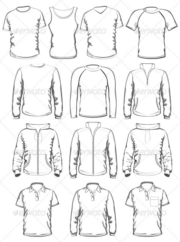 Collection of Men Clothes Outline Templates #GraphicRiver