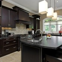 Dark cabinets with light tile floor | Kitchen & Dining ...