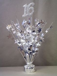 Cheap Sweet 16 Centerpieces  Silver Sweet 16 Centerpieces Sale on Inexpensive Ready Made 16th