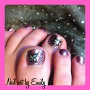 butterfly toe nail art. freehand