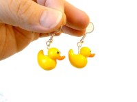 Duck earrings polymer clay animal jewelry yellow by ...