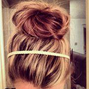 messy bun long thick hair
