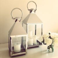 Lanterns, silver decor, lighting, candles, flowers, home