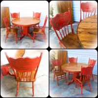 17 Best ideas about Red Kitchen Tables on Pinterest