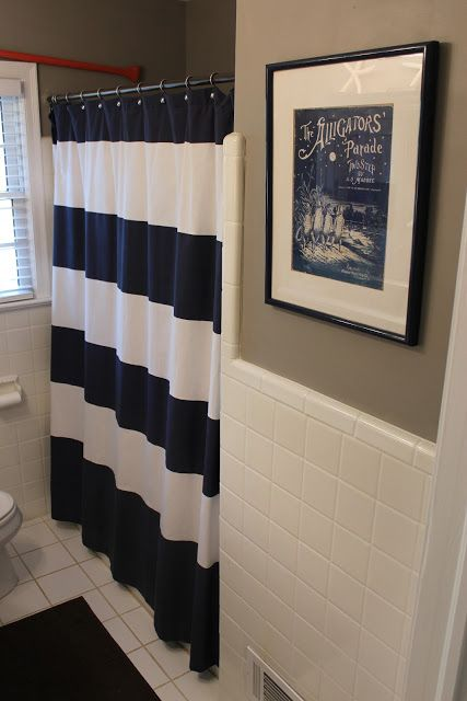 Paint Rockport Gray Benjamin MooreWest Elm Shower Curtain boys bathroom  For the Home