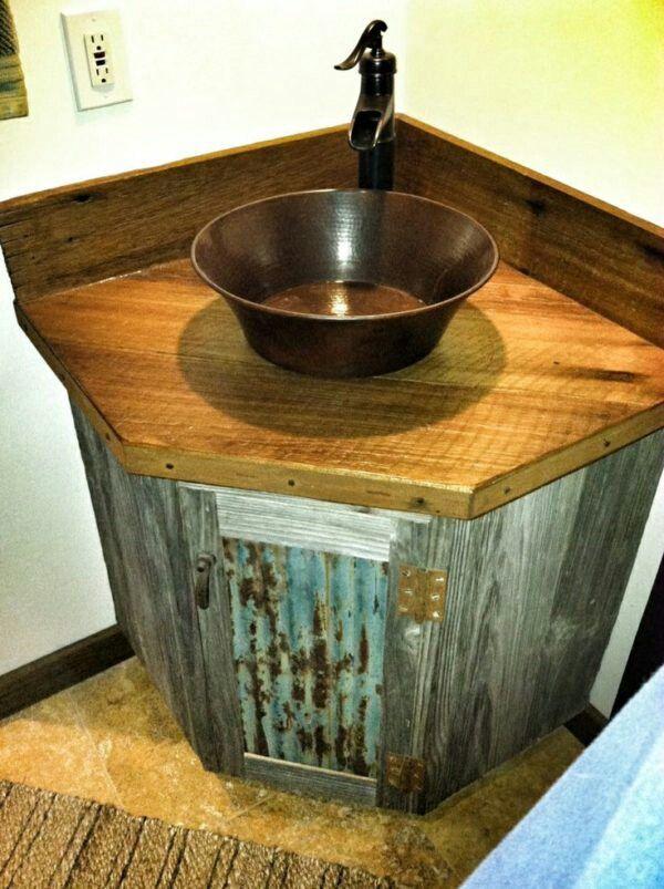 Reclaimed barnwood and tin roofingbathroom sink remodel