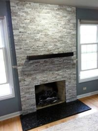 A contemporary fireplace in El Capitan Gray Blend. The ...