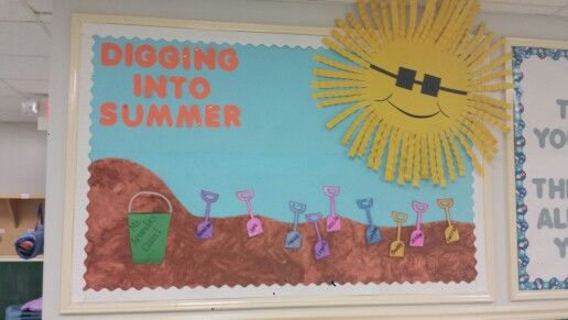 Digging Into Summer Bulletin Board With Paint Mixed With