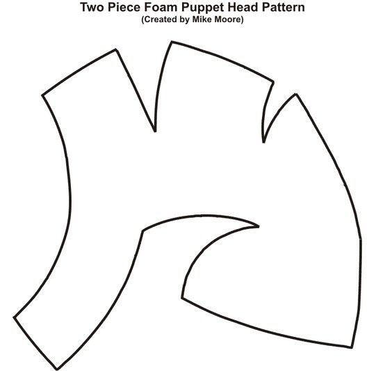 Pattern for two-piece foam puppet head created by Mike