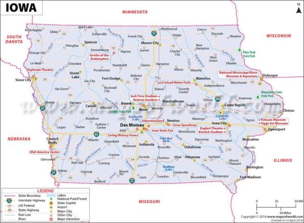 Iowa map showing the major travel attractions including