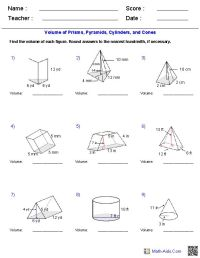 Prisms, Pyramids, Cylinders & Cones Volume Worksheets ...