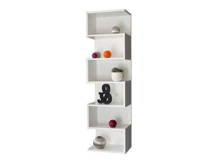 Etagre dcorative 6 cases coloris blanc  Vente de Bibliothque  Conforama  high glossy