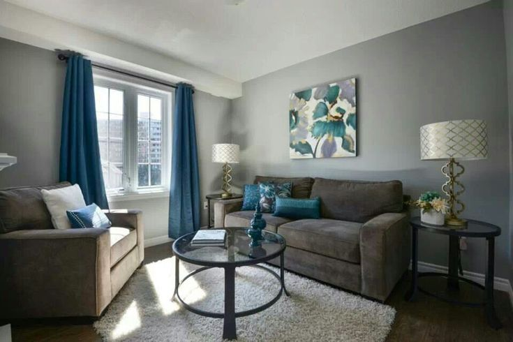 Love The Gray Walls With Blue Accents.