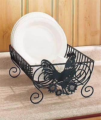Country Farm Kitchen Rooster Black Metal Drying Dish Rack