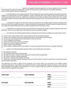 Eyelash Extension Consent Form Forms Marketing Amp Apparel Eyelash Pinterest