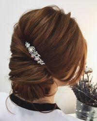 low bun twist updo hairstyle #weddinghair #updos # ...