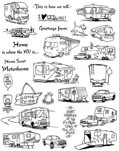 Unmounted Rubber Stamp Sheets, Campers, Camping, Motorhome