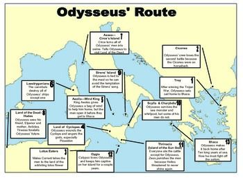 Odyssey Map Sequencing Odysseus' Travels For Students