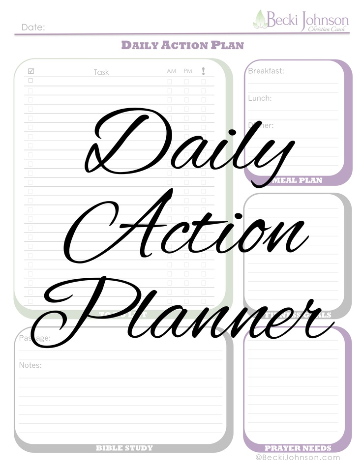 Free Download: Daily Action Planner. Worksheet Includes