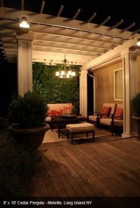 Pergola lighting can be a permanent outdoor chandelier