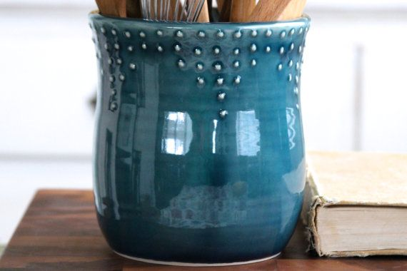 Large Kitchen Utensil Holder Handmade 16 Color Choices