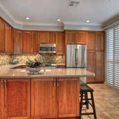 Granite Top Kitchen Island Butcher Block Countertops Final Renovation. Natural Cherry Cabinets ...