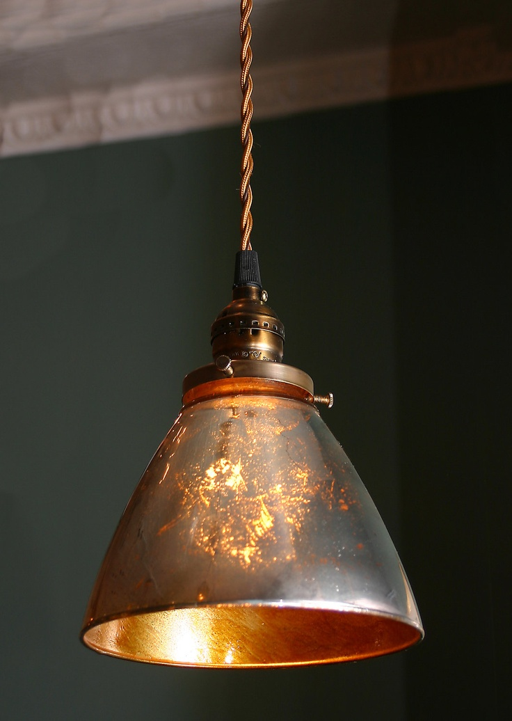 Custom Pendant Light with blown Mercury glass shade