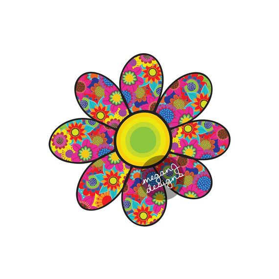 Flower Car Decal Cute Daisy Colorful Floral Bumper Sticker Hippie Boho Laptop Decal Red Yellow