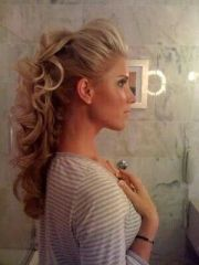 curly mohawk blonde updo