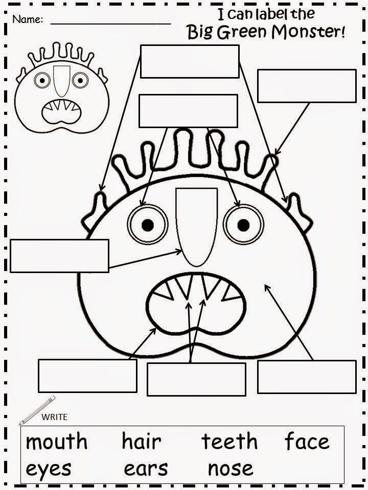 Monster activities: FREE label the monster worksheet