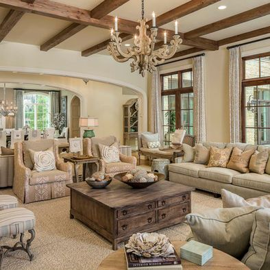 Love the wooden beams on ceiling… Everything else is way too elegant for a livable living room.