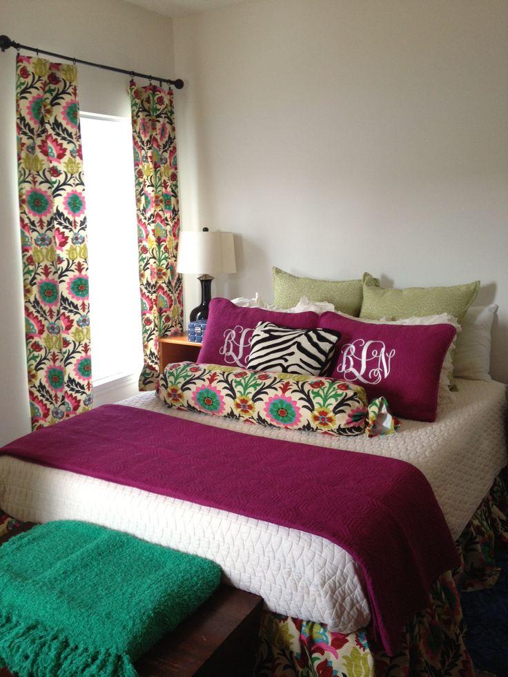 Jewel Tone Bedroom Decorations Using Waverly Santa Maria