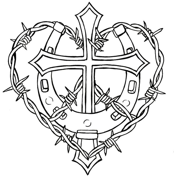 Cross with Horseshoe and Barbed Wire Tattoo by Metacharis