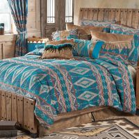 Turquoise Diamond Southwest Chenille Bed Set