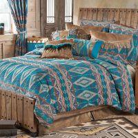 Turquoise Diamond Southwest Chenille Bed Set - King ...